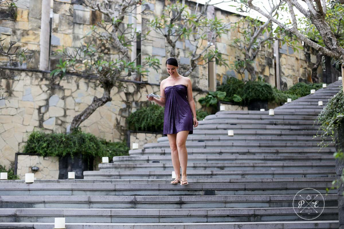walking down the steps to the final location