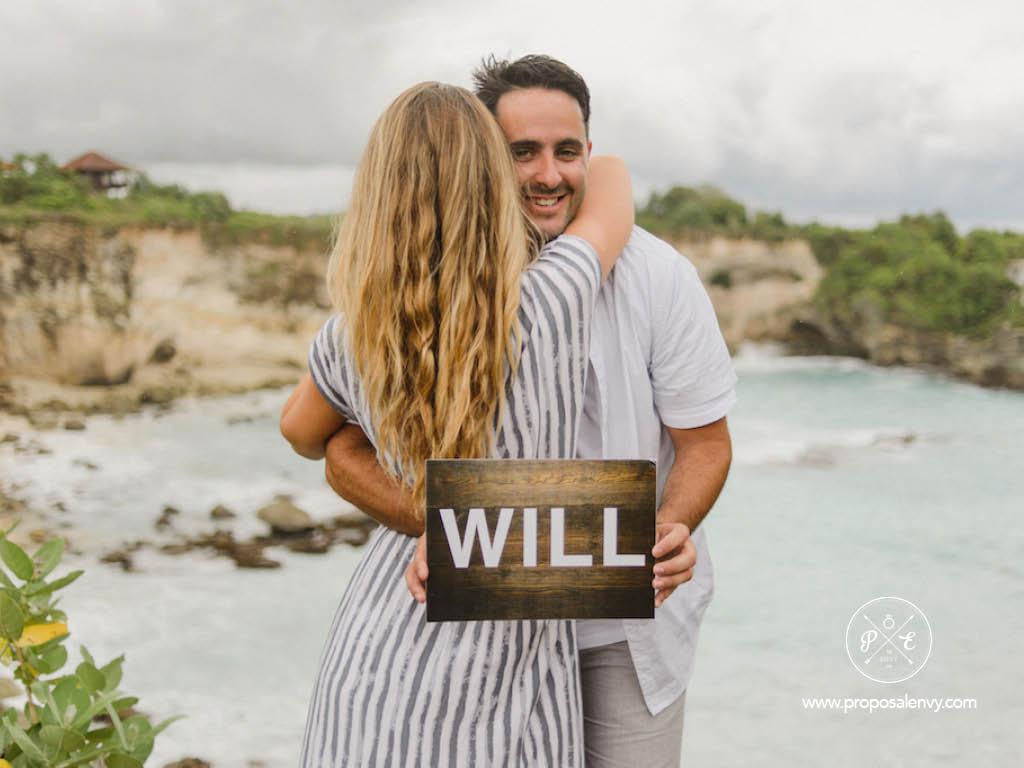 his surprise proposal at Nusa Lembongan